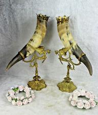PAIR antique XL Bronze gothic dragon Cornucopia horn statue