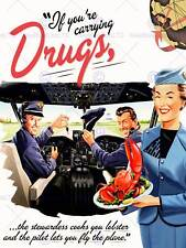 Peinture maquette pub flight drogues homard pilote funny art print poster CC6607
