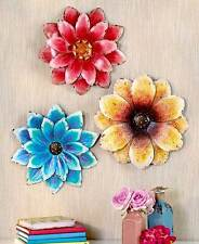 Set of 3 Hand Painted Metal Wall Flower Sculptures Fence Patio Garden Art Decor
