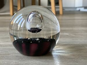 Vintage Art Glass Paperweight With Central Air Bubble Purple/ Maroon Colour