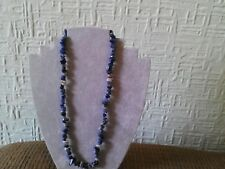 "Handmade Necklace New Natural Sodalite Gemstone Chips approx 19"" long."