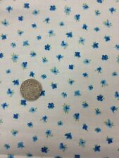 100% Cotton Quilting craft Fabric Blue Tiny Floral On White By Stof