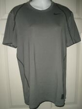 #788 Men's Nike M Fitted Pro combat Dri Fit Athletic Sports Gray Dri Fit