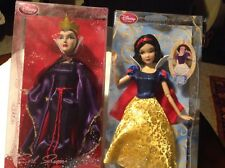 Disney Store Exclusive Snow White & RARE retired Evil QueenClassic Doll Set NRFB