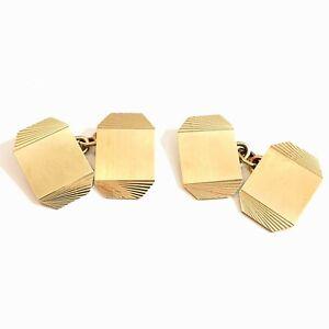 Vtg 9ct 375 Gold Chain Link Cufflinks Art Deco Sunburst Hallmarked Birmingham