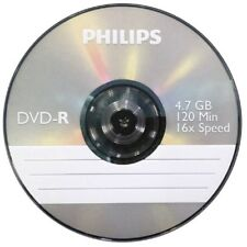 NEW PHILIPS DVD-R 120 MIN VIDEO 4.7GB DATA 16X SPEED 5 DISC SLEEVED