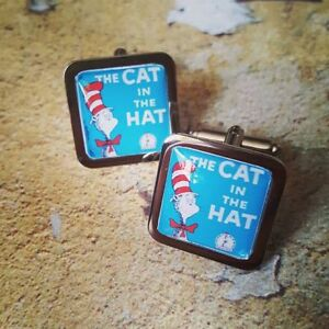 Unique THE CAT IN THE HAT CUFFLINKS vintage DR SEUSS retro CLASSIC handmade