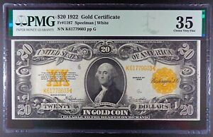 Fr. 1187 $20 1922 Gold Certificate, PMG Choice VF-35.