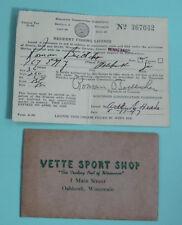 1947 Oshkosh Wisconsin Vette Sport Shop Fishing License Permit w/ Envelope