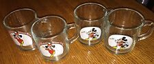 1937 1955 Disney Mickey Mouse Club Magician GlassMugsCups Set 4 AnchorHockingUSA