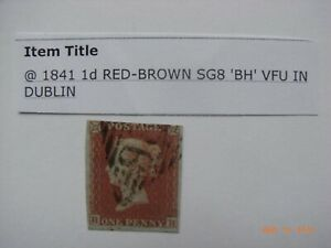 GB QV -SG8 -1841, 1d RED BROWN ,- ,FINE USED,LIGHT CANCEL USED IN DUBLIN .