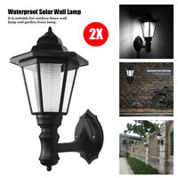 2pcs Solar Vintage Outdoor LED Wall Light Lamp Sconce Garden Lantern Porch Light