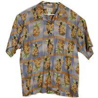 Reyn Spooner Mens Hawaiian Camp Shirt Sz Lg Pineapple Regency Textured Linen EUC