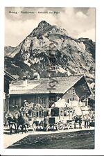 Switzerland Gsteig Postbureau Ankunft der Post Vintage Postcard G001