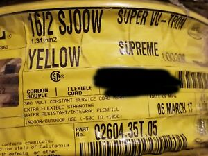 Carol 02604 16/2C Super Vu-Tron Supreme Yellow SJOOW 300V Power Cable Cord /50ft