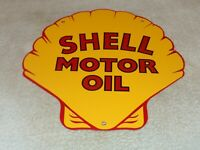 "VINTAGE SHELL MOTOR OIL DIE-CUT 11 3/4"" PORCELAIN METAL GASOLINE SIGN PUMP PLATE"