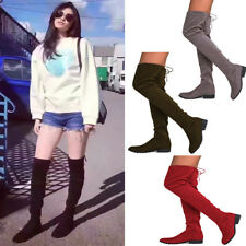 UK NEW Womens Over The Knee Thigh High Boots Stretch Casual Flats Boot Shoes
