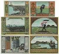 **1921 LANGENESS Germany- BRIGHT SEA ~ Complete Set UNC German Notgeld Banknote