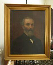 Antique American Bearded Gentleman Oil Portrait c1850s  FOLK ART