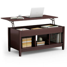 Lift Top Coffee Table w/ Hidden Compartment and Storage Shelves Modern Furniture