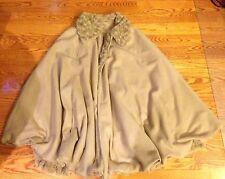 SPORT Womens FAUX FUR Brown Beige  Peat Coat Cape Poncho Shawl