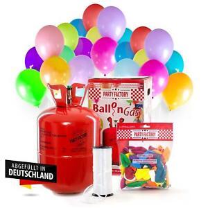 Ballongas Helium im Set mit 50 Luftballons, Einwegflasche 0,4m³ Heliumflasche