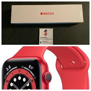 Apple Watch Series 6 40mm Aluminum Case (Product) Red Sport Band M00A3LL/A NEW