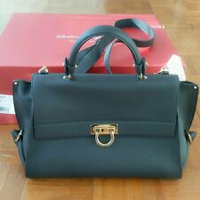FERRAGAMO Large Black Leather Sofia Bag Purse ~ NEW