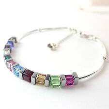 Sterling Silver Multi Colour Cube Bracelet Made With Swarovski Elements