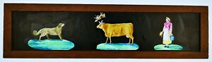 1870'S HAND PAINTED PANORAMIC MAGIC LANTERN SLIDE / MILKING THE COW