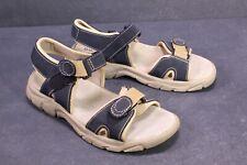 C992 Gextop Fußbett Trekking Sandalen Leder blau beige Gr. 42 Klettverschluss