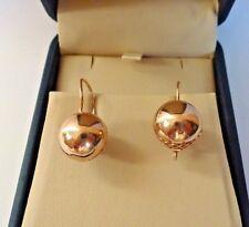Vintage Soviet Rose Gold Ball Filigree Earrings 14K 583 Star Hammer Russian USSR