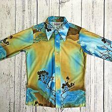 d3982775 Vintage Napili Mens 60s70s gold blue Hawaiian Disco long sleeve Shirt S-M.  1499