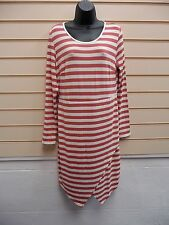 DRESS CREAM  RUST SIZE 14 STRIPED DETAIL JERSEY CASUAL BNWOT
