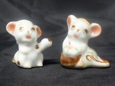 PAIR OF HAND PAINTED MINIATURE MICE / MOUSE FIGURINES