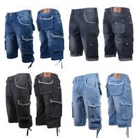 Crosshatch Mens Denim Short Cargo Combat Knee Length Casual Fashion Summer Pant