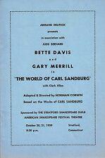 "Bette Davis ""WORLD OF CARL SANDBURG"" Gary Merrill 1959 Stratford Tryout Playbill"
