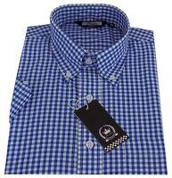 Relco Men's Blue Gingham Short Sleeved Button Down Collar Mod Skinhead Shirt