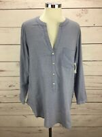 Old Navy Women's Size M Tunic Top Blue Long Sleeve Button Up Pocket Shirt