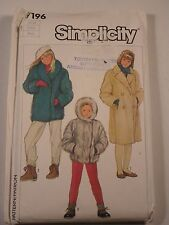 S-7196 Lined Jacket & Coat Sewing Pattern Simplicity Child Size 7 Uncut