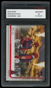SHOHEI OHTANI/MIKE TROUT TOPPS 'OHTANI GETS HOT' ERROR CARD 1ST GRADED 10 ANGELS