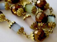 VINTAGE GOLD & SATIN GLASS BEAD DOUBLE ROW / STRAND NECKLACE