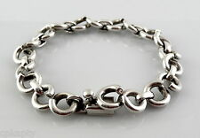 Vintage 1940s 50s WEISS Sterling Silver Heavy Link BRACELET Made in Mexico