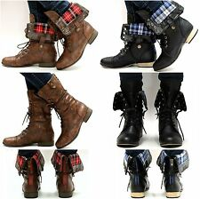 New Women L8F Black Brown Combat Military Lace Up Cuffed Mid-calf Boots