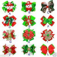 Baby Girls Kids Christmas Ornaments Grosgrain Ribbon Bowknot Hair Clips Hairpin