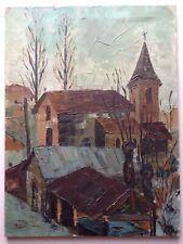 Beau Tableau Village en Hiver Huile signée étiquette Galerie Bellecour Lyon 1961