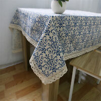 Retro Home Decor Blue And White Porcelain Tablecloth Cotton Linen Table Cover