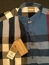 NWT BURBERRY BRIT MENS SHIRT MEDIUM BLUE CHECK COTTON FLANNEL SHIRT