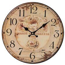 Clayre&Eef HORLOGE MURALE MAISON DE FLORETTE PARIS ROSES rustique SHABBY VINTAGE
