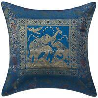 "Indian Dark Blue Brocade Elephant Cushion Cover Home Decor Silk Pillowcase 16"""